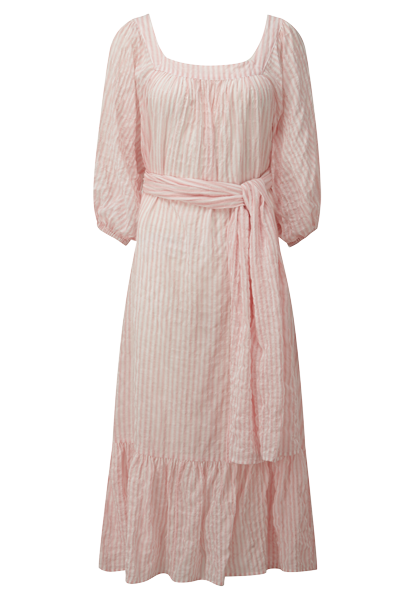 LAURE PINK STRIPED CRINKLE DRESS