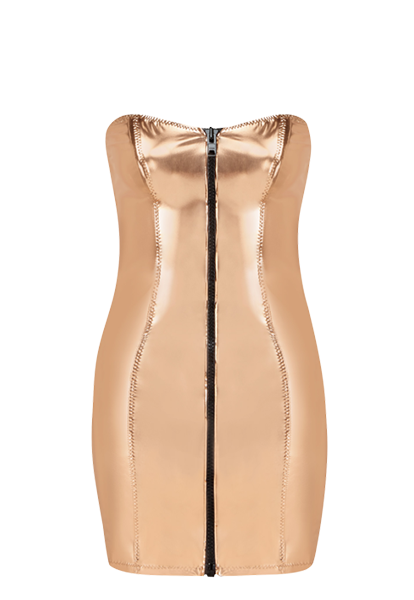 LEIGH ROSE GOLD METALLIC PVC DRESS