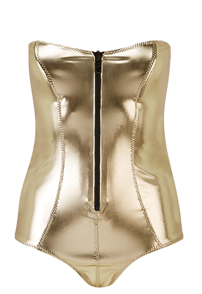 LEIGH WHITE GOLD METALLIC PVC MAILLOT