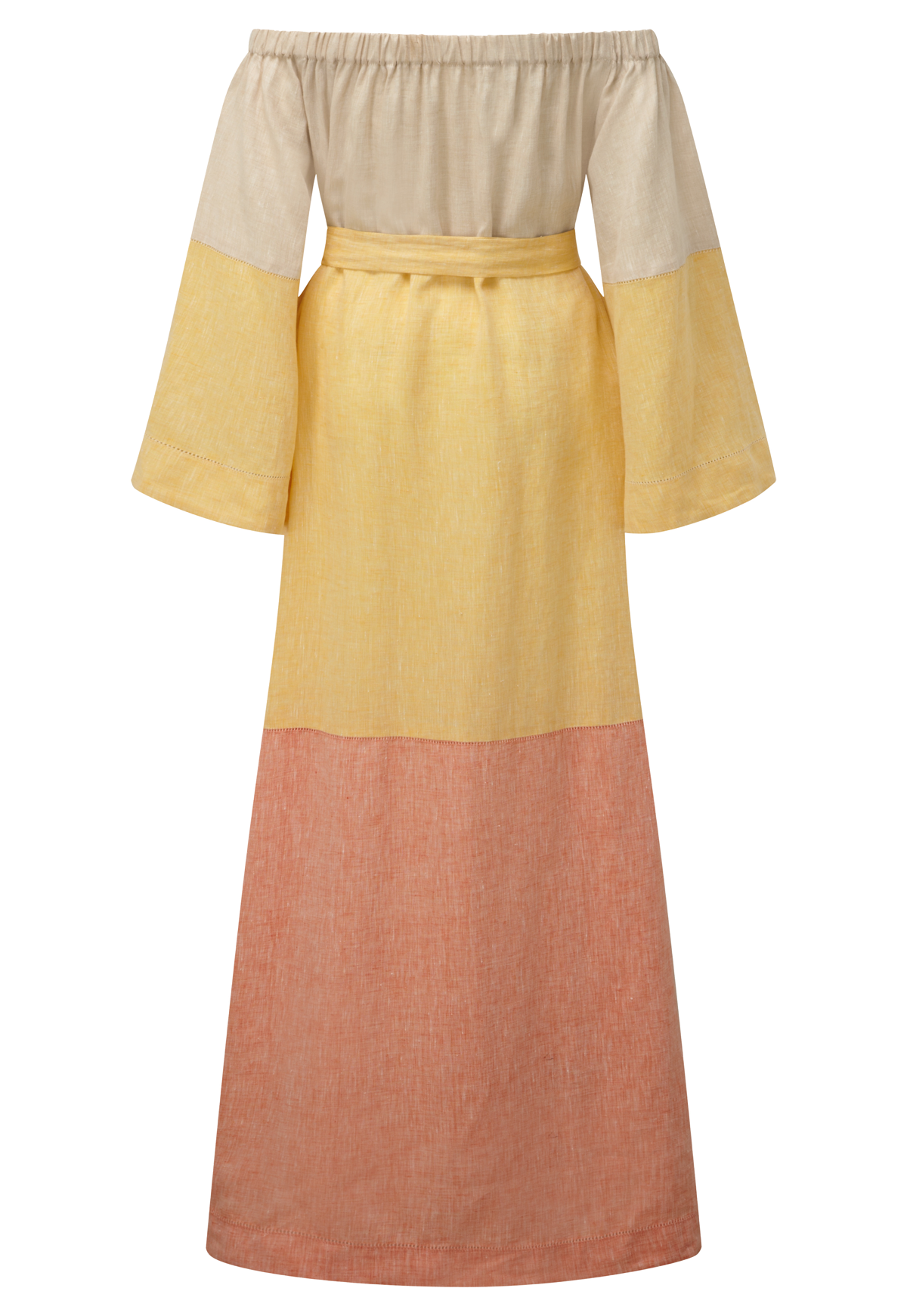 OFF SHOULDER COLORBLOCK LINEN DRESS
