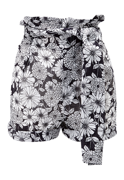 BLACK FLORAL COTTON SHORT