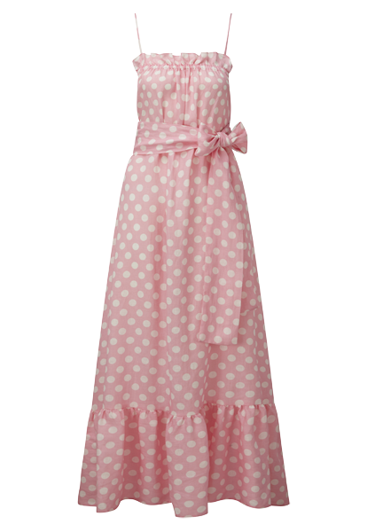 LIZ PINK POLKA DOT LINEN DRESS