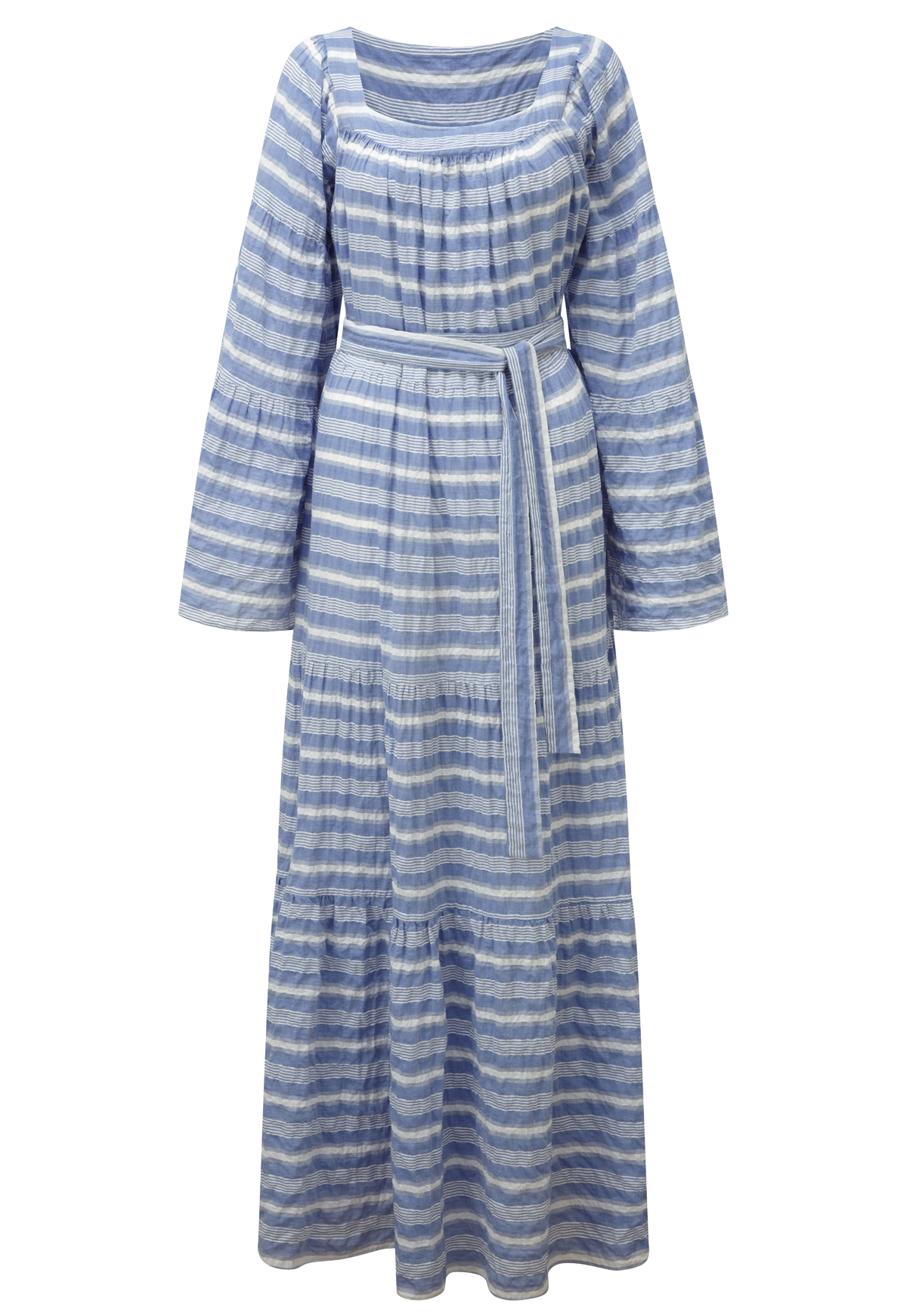 PEASANT BLUE STRIPED COTTON MAXI DRESS