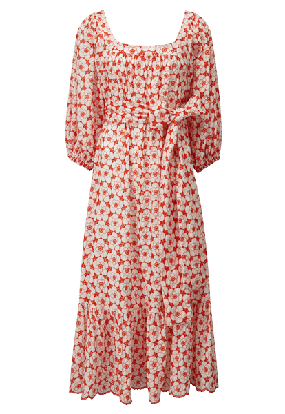 LAURE TOMATO POPPY EYELET DRESS