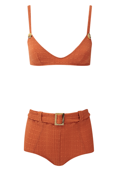 MAGDALENA TERRACOTTA BELTED HIGH-WAIST BIKINI
