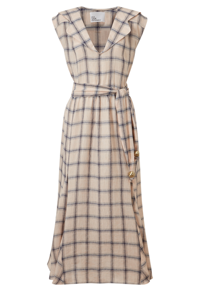 MARGUERITE PEACH WINDOWPANE LINEN DRESS