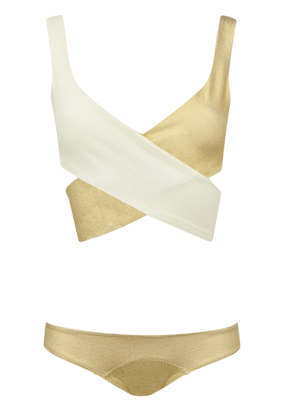 MARIE-LOUISE GOLD/CREAM CREPE BIKINI