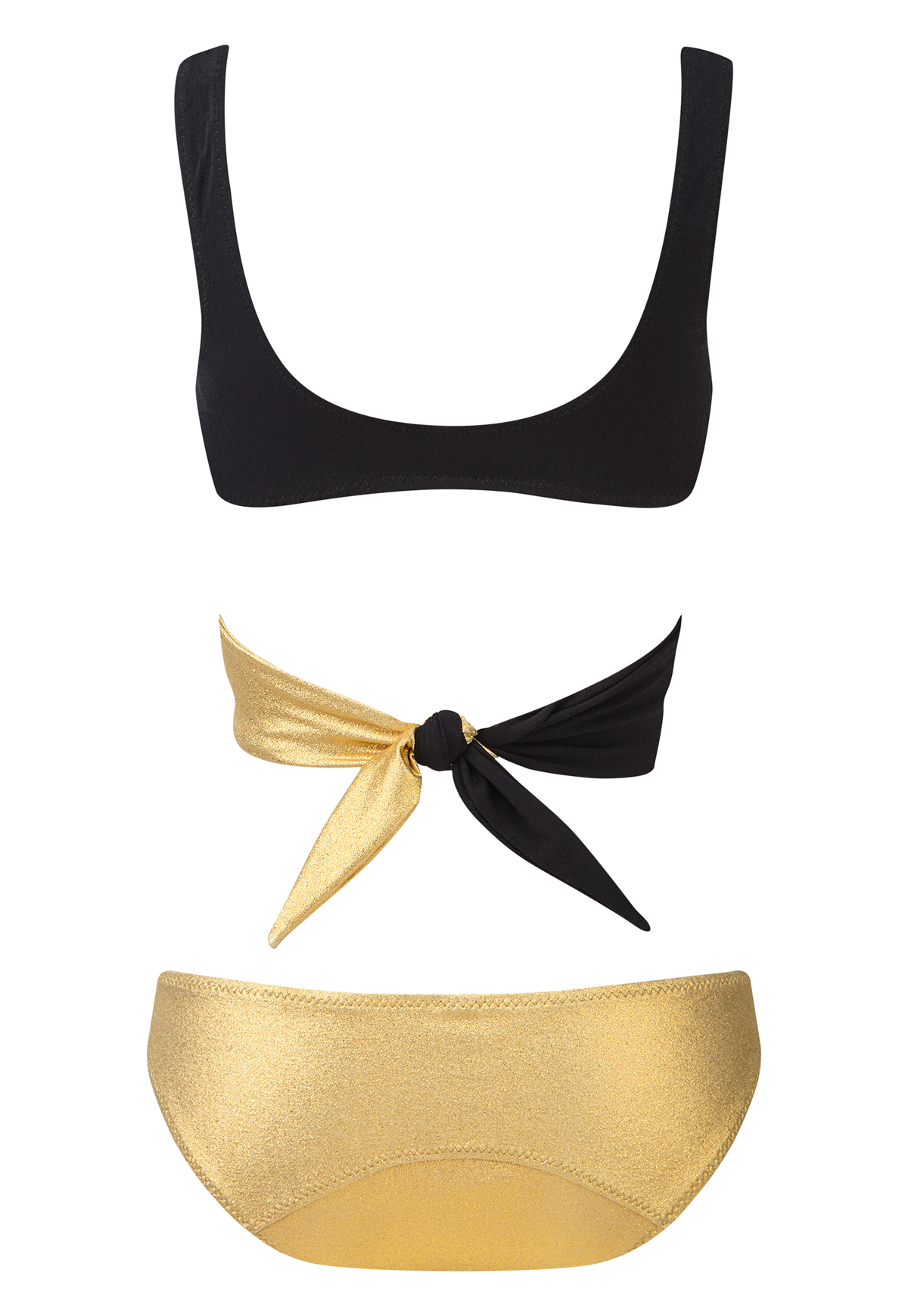 MARIE-LOUISE GOLD AND BLACK CREPE BIKINI