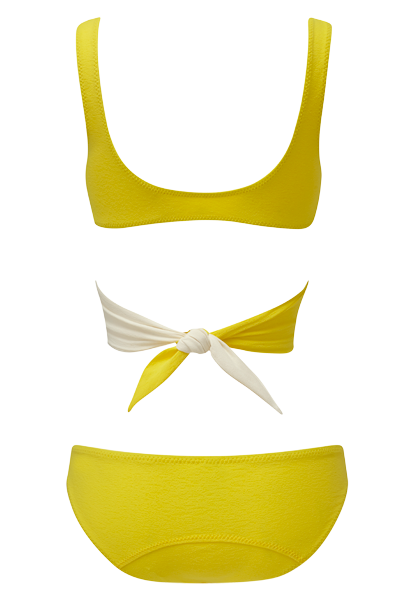 MARIE-LOUISE LEMON AND CREAM CREPE BIKINI