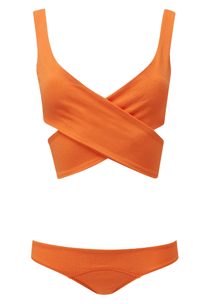 MARIE-LOUISE ORANGE CREPE BIKINI