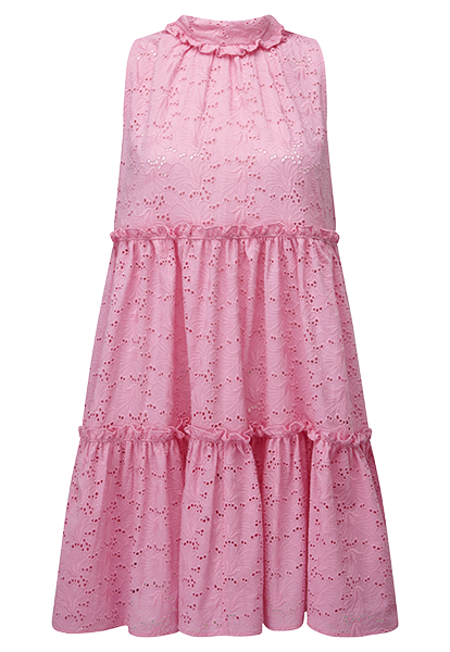 MINI RUFFLE PINK EYELET TIER DRESS