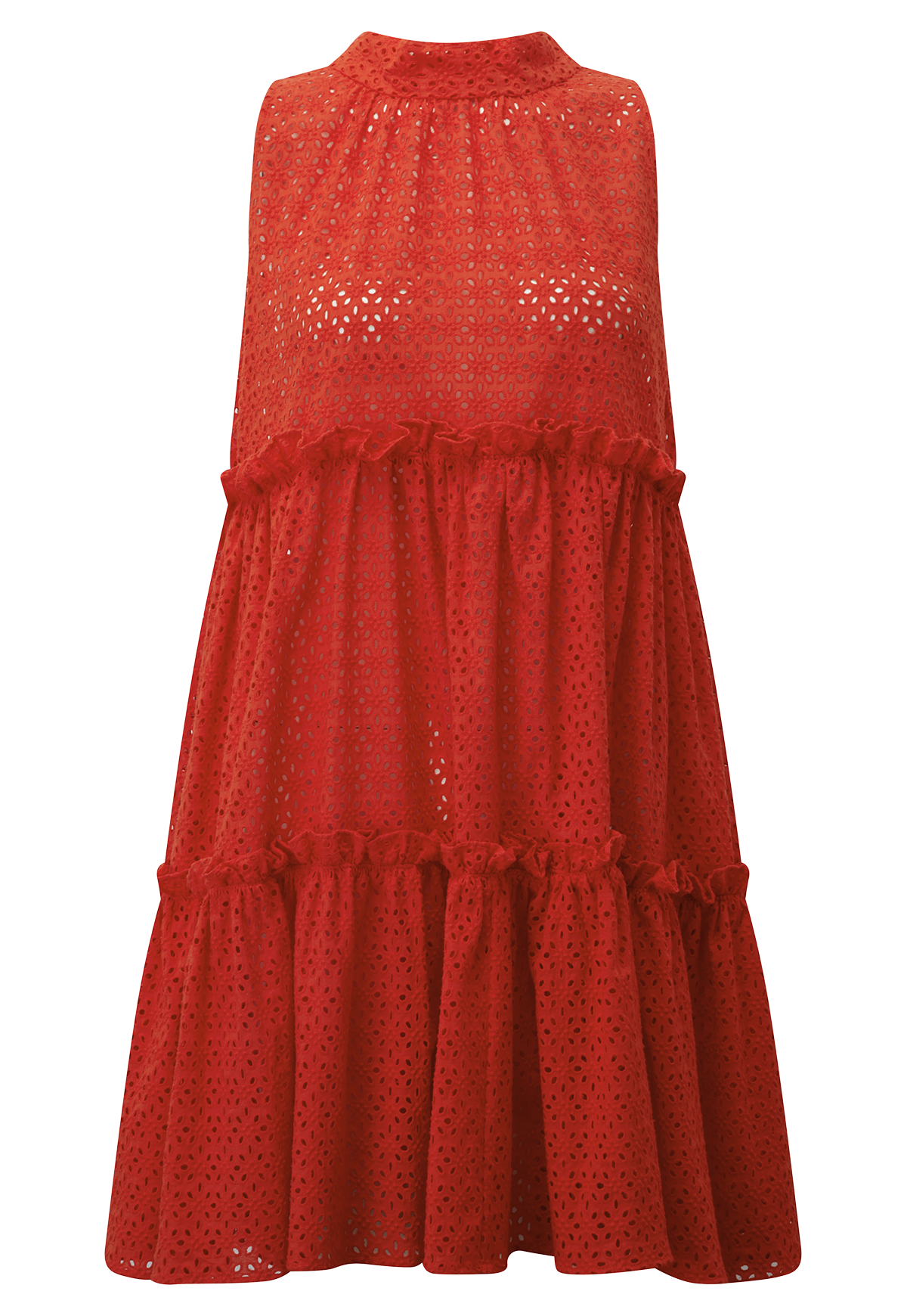 MINI RUFFLE TOMATO EYELET TIER DRESS
