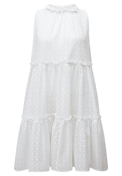 MINI RUFFLE WHITE EYELET TIER DRESS