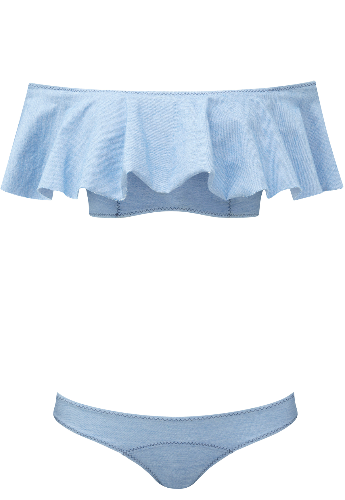 MIRA FADED DENIM FLOUNCE BIKINI