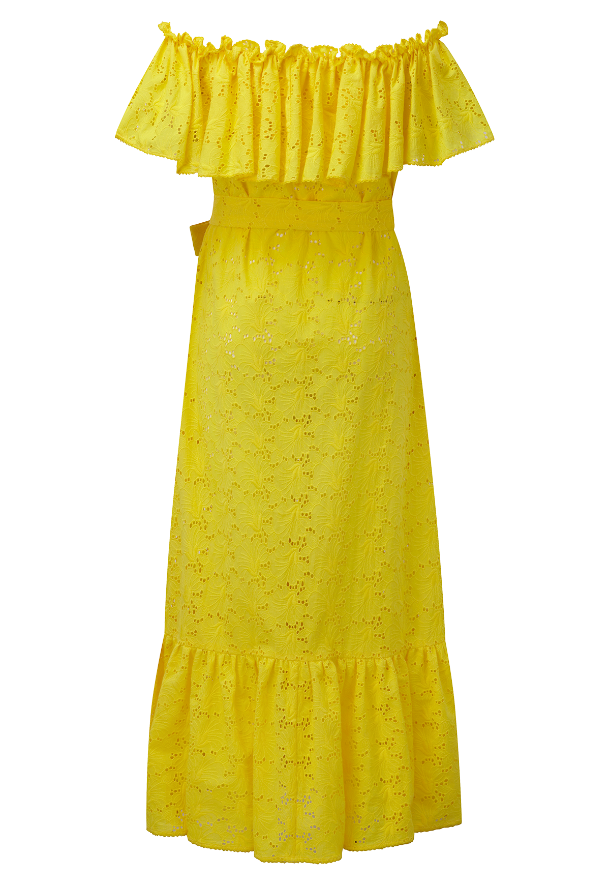 MIRA BUTTON DOWN LEMON EYELET DRESS