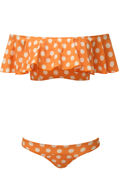 MIRA ORANGE POLKA DOT FLOUNCE BIKINI