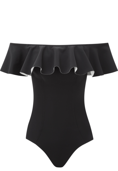 MIRA BLACK FLOUNCE BONDED MAILLOT (PRE-ORDER)