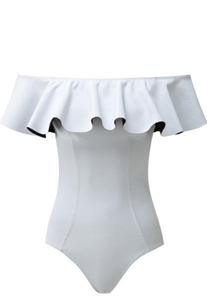 MIRA WHITE BONDED FLOUNCE MAILLOT