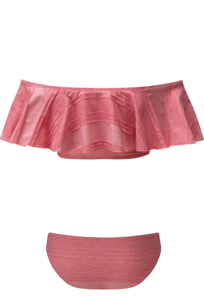 MIRA FLOUNCE PINK STRIPED COTTON BIKINI