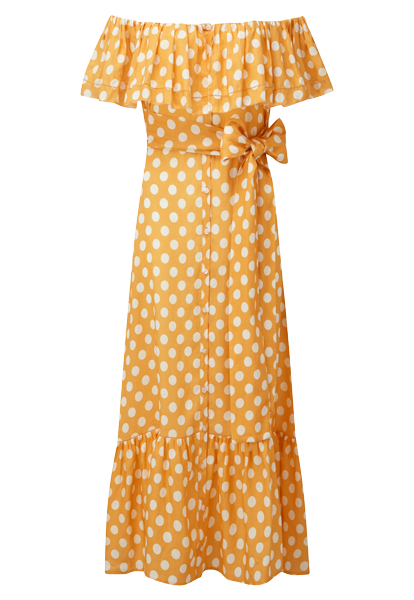 MIRA ORANGE POLKA DOT DRESS