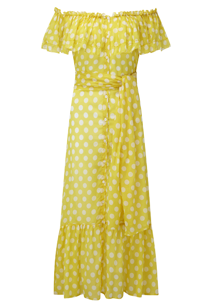 MIRA YELLOW POLKA DOT DRESS