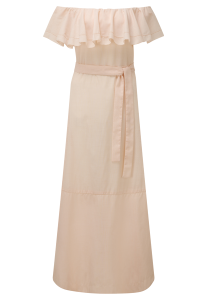 MIRA BLUSH FLOUNCE DRESS