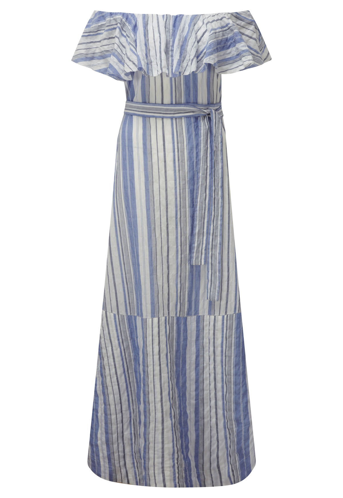 MIRA FLOUNCE BLUE STRIPED DRESS