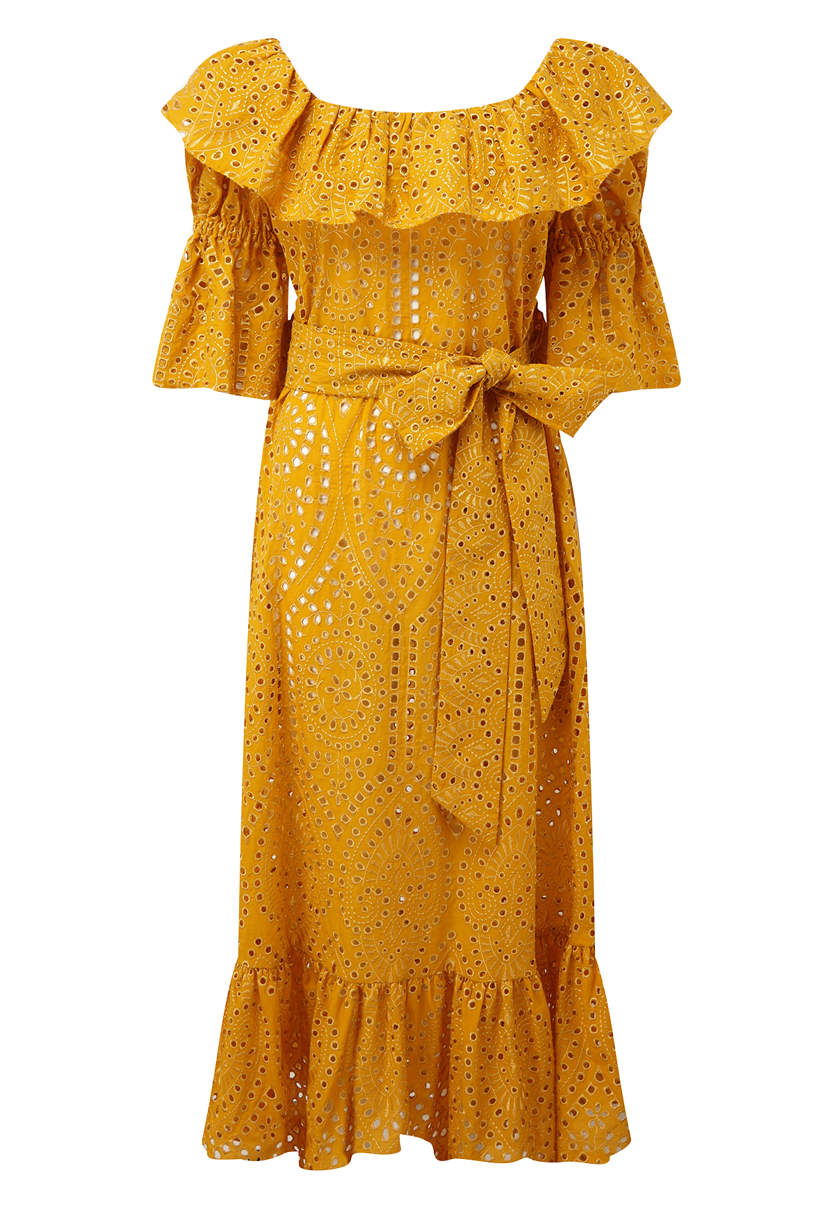 NATASHA SAFFRON/GOLD EYELET DRESS