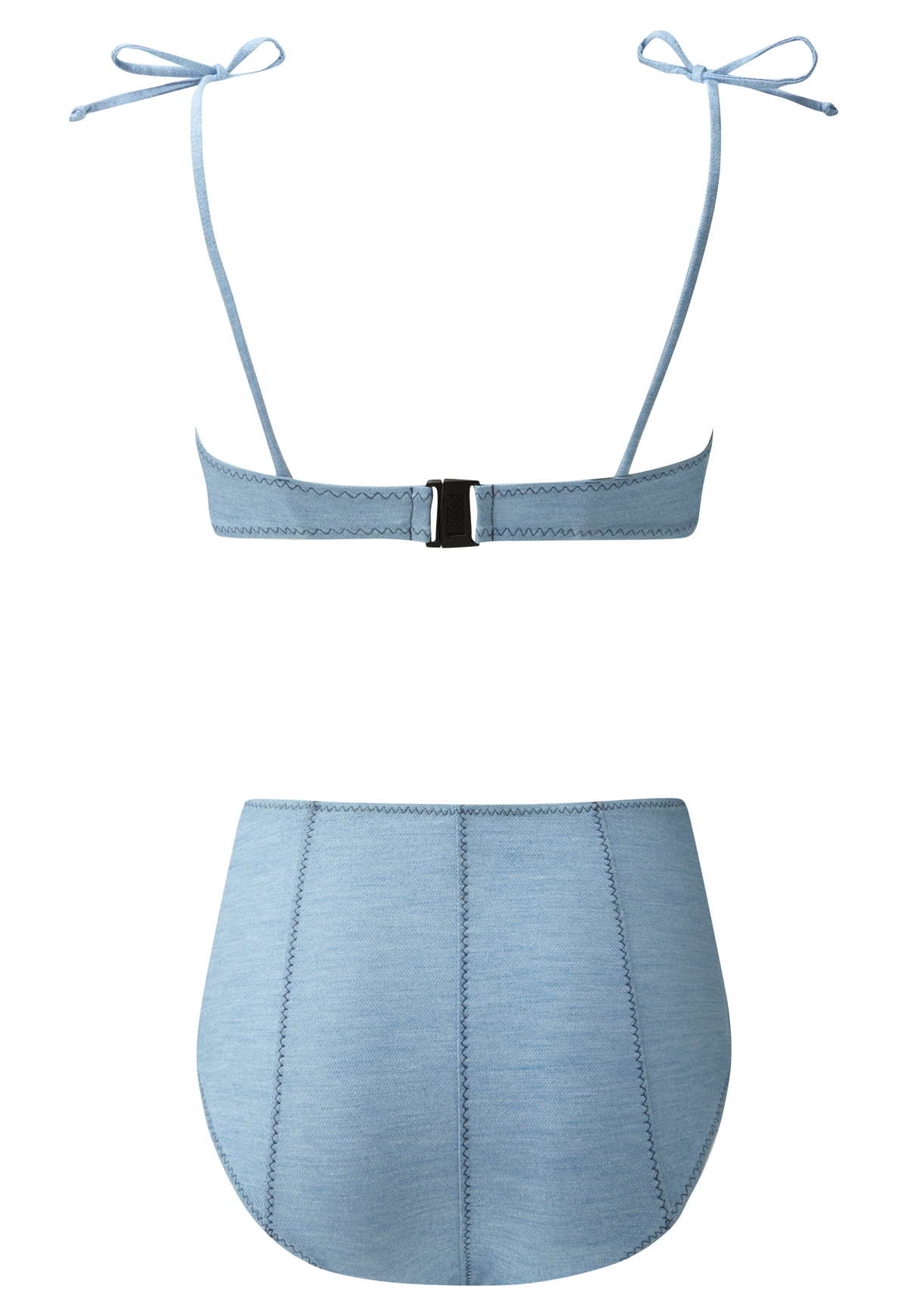 NICOLE FADED DENIM HIGH-WAIST BUTTON BIKINI