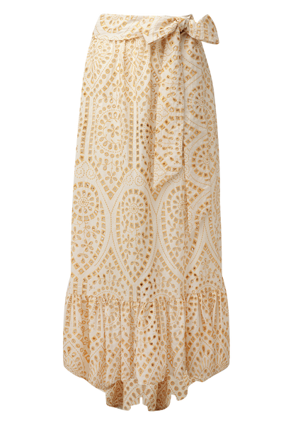 NICOLE NATURAL AND GOLD EYELET SKIRT