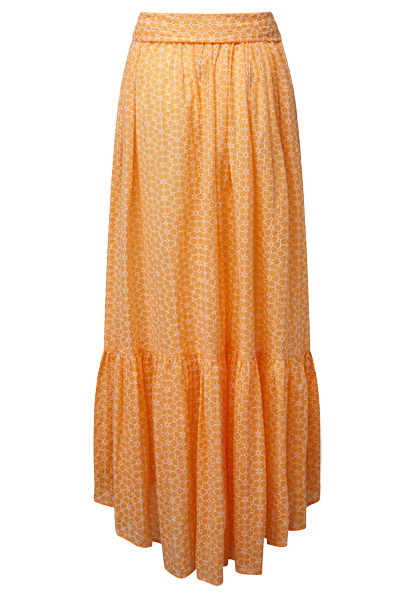 NICOLE TANGERINE AND WHITE DAISY EYELET SKIRT