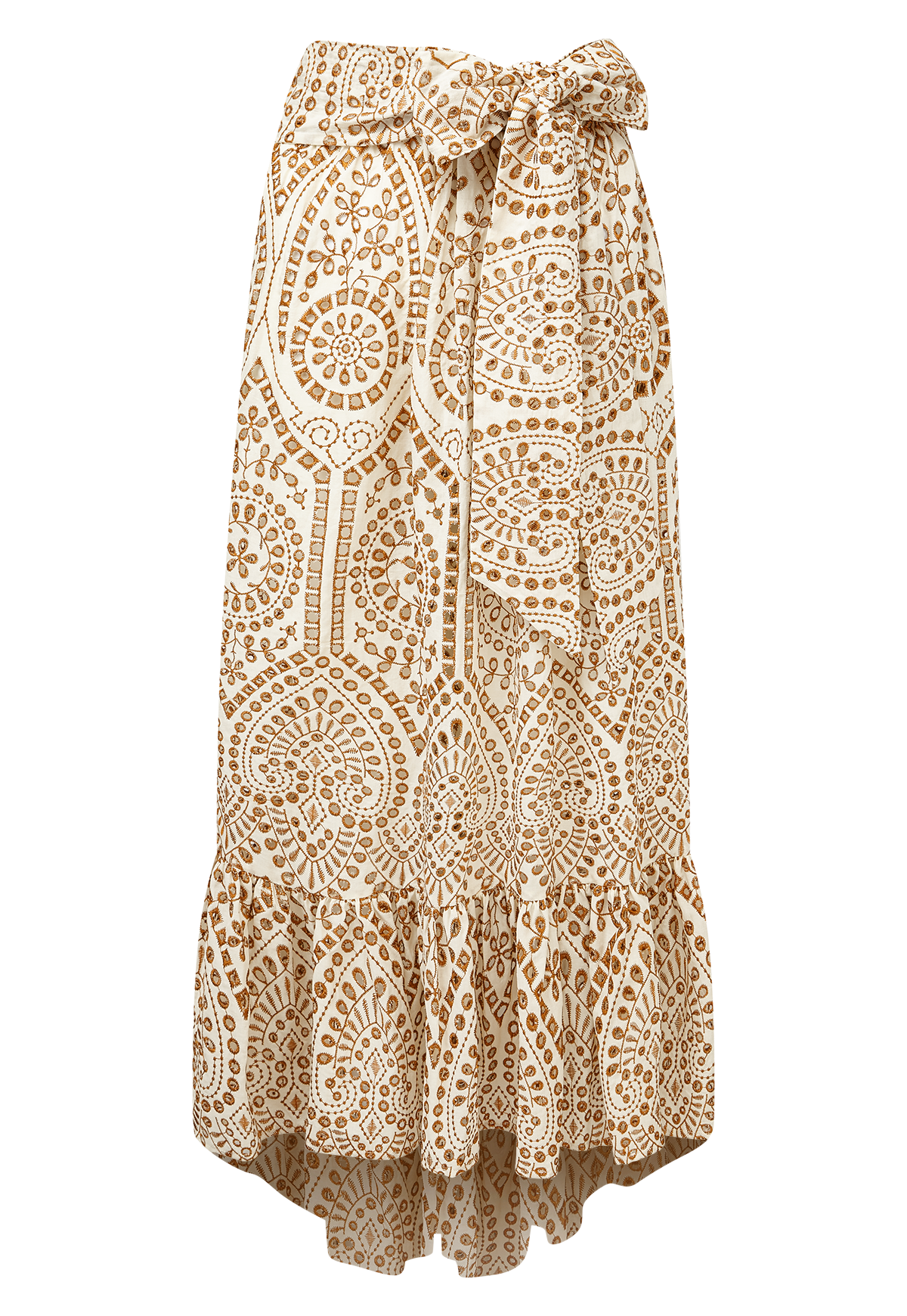 NICOLE NATURAL/TERRACOTTA EYELET SKIRT