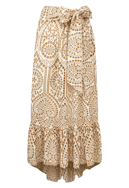 NICOLE NATURAL AND TERRACOTTA EYELET SKIRT