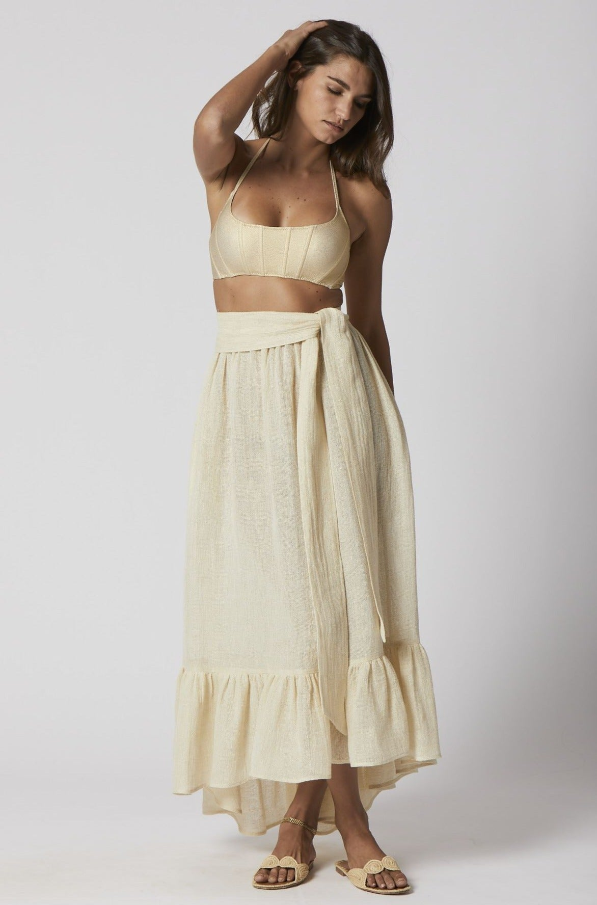 NATURAL CHIOS GAUZE NICOLE SKIRT