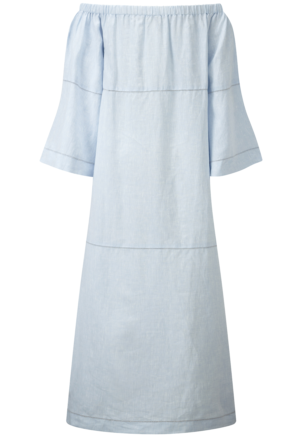 OFF SHOULDER BLUE LINEN DRESS