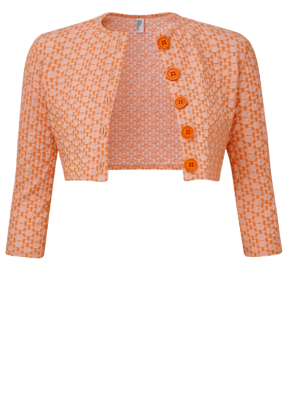 ORANGE SEERSUCKER CARDIGAN