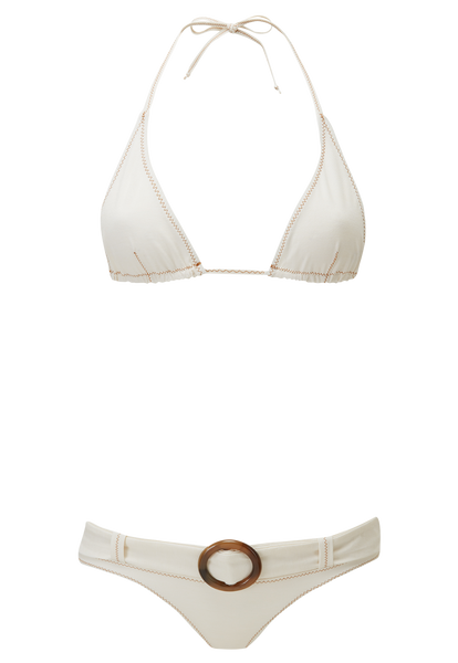 PAMELA CREAM COTTON BELTED BIKINI