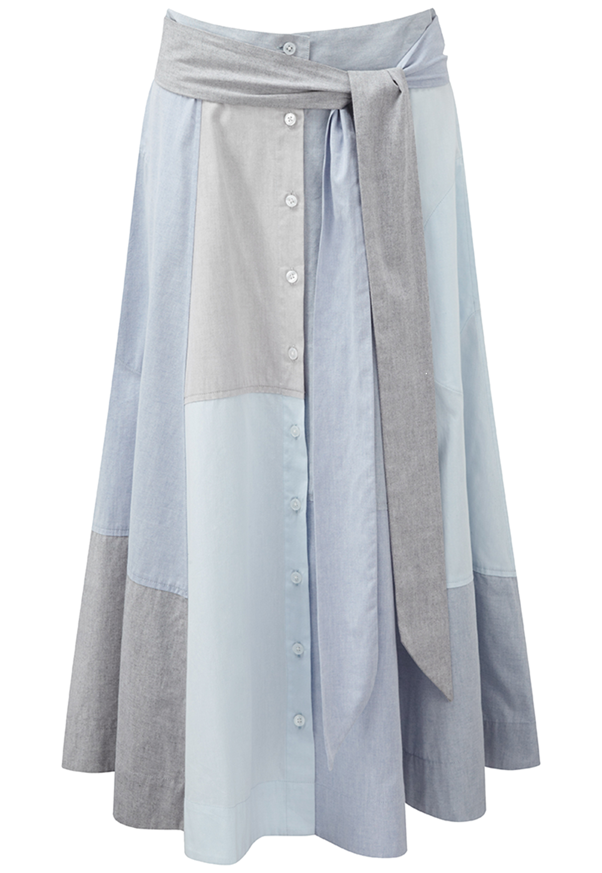 PATCHWORK CHAMBRAY BEACH SKIRT