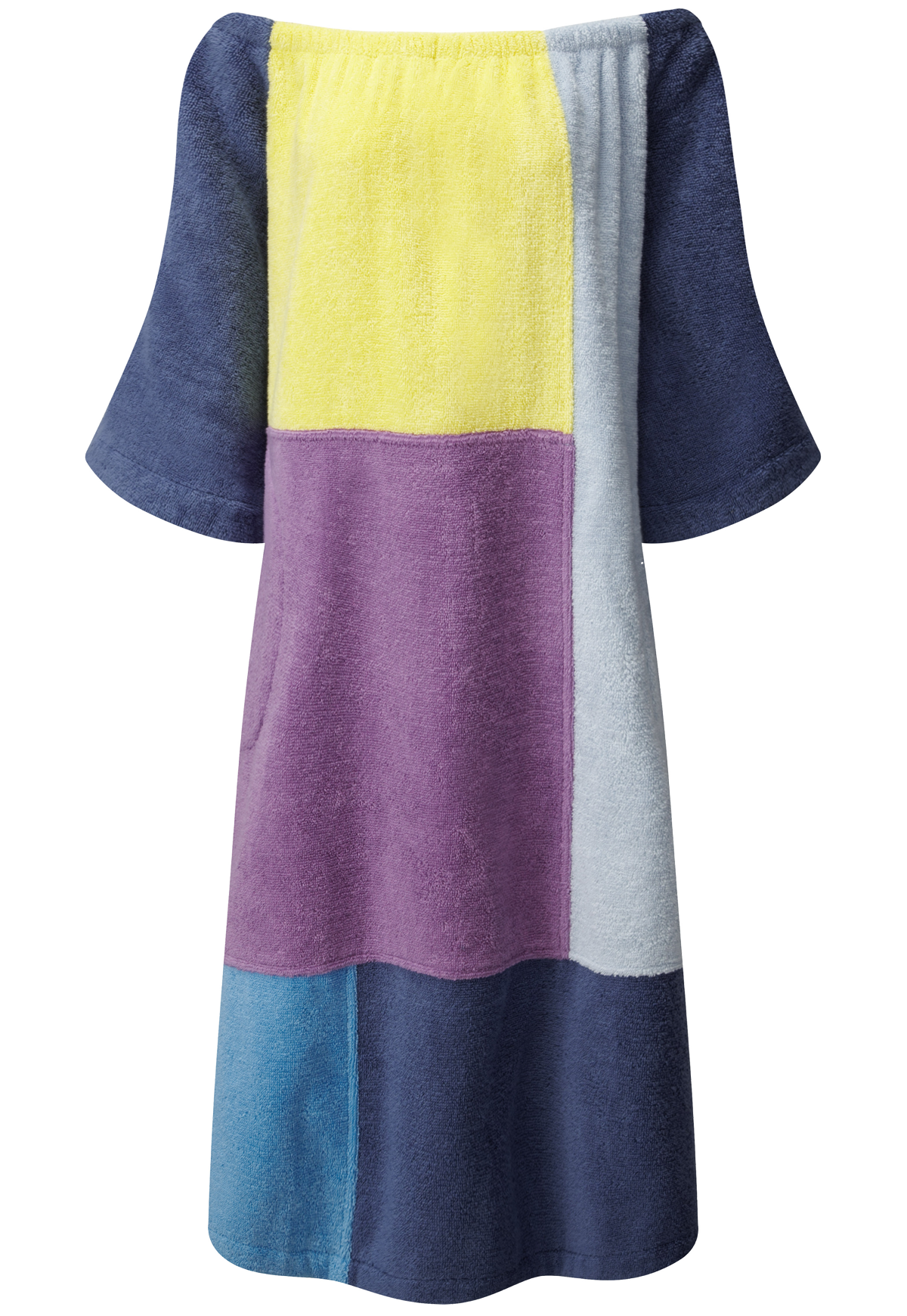 PATCHWORK TERRY CLOTH MIDI DRESS