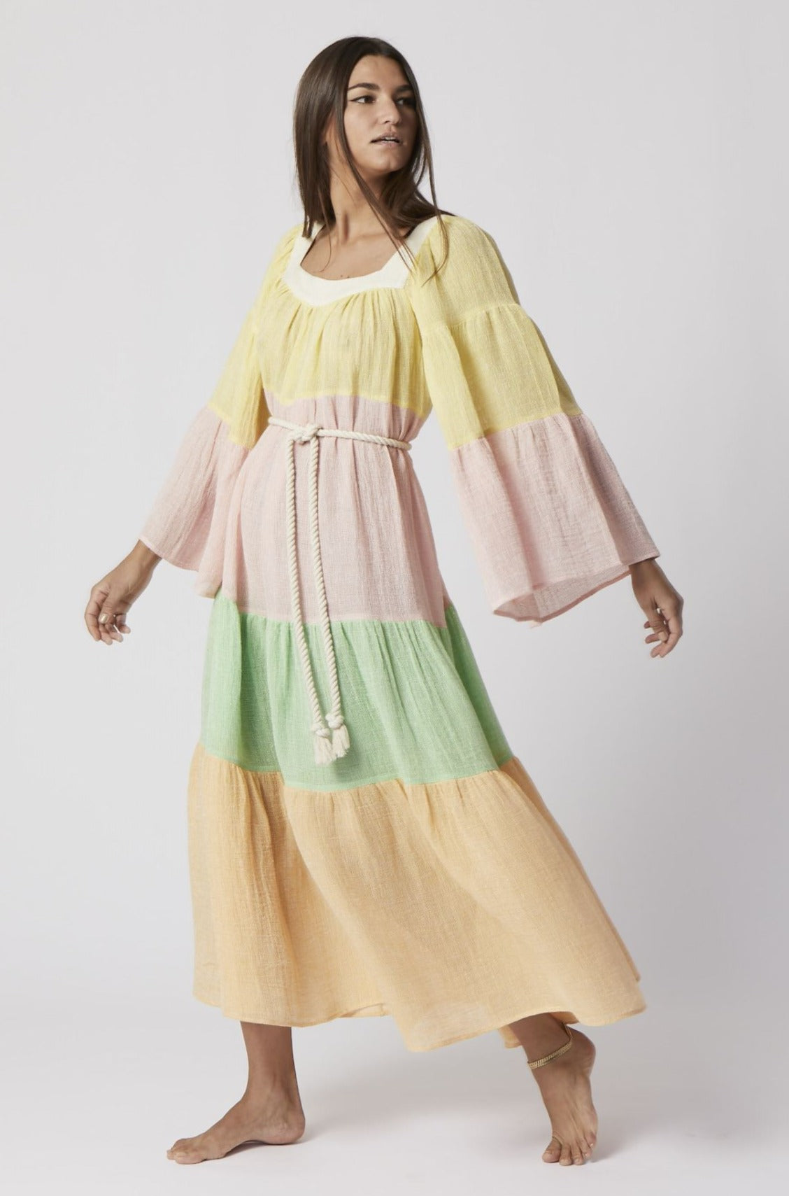 CHIOS GAUZE PEASANT DRESS (PRE-ORDER)