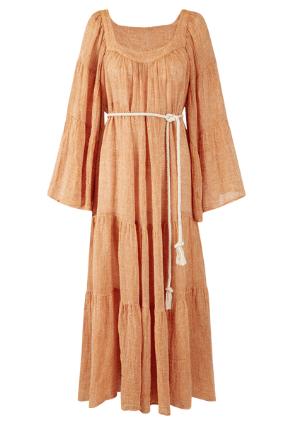ORANGE CHIOS GAUZE PEASANT DRESS