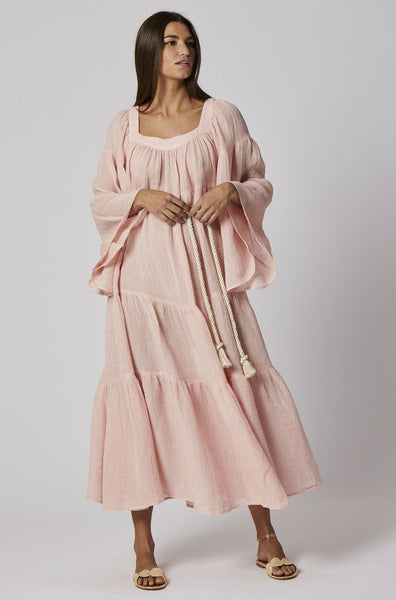 PINK CHIOS GAUZE PEASANT DRESS