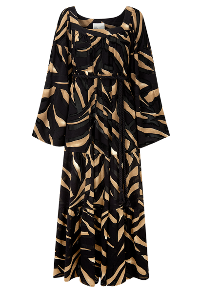 ZEBRA DEVORE PEASANT DRESS