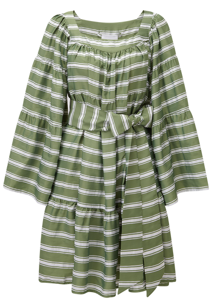 Green Striped Peasant Mini Dress