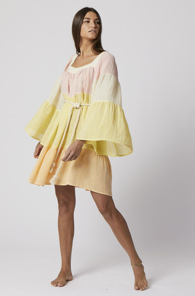 CHIOS GAUZE PEASANT MINI DRESS