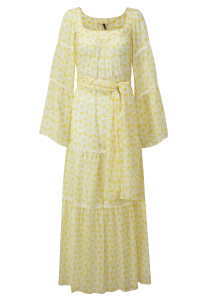 POPPY YELLOW AND WHITE COTTON PEASANT DRESS