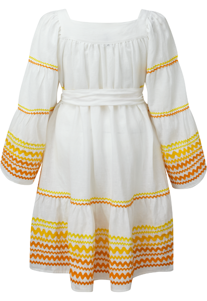 MULTI YELLOW RIC RAC PEASANT DRESS