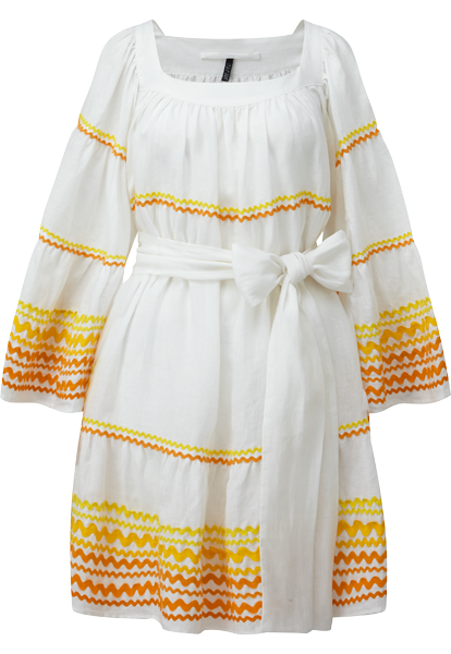 RIC RAC YELLOW AND ORANGE LINEN PEASANT DRESS