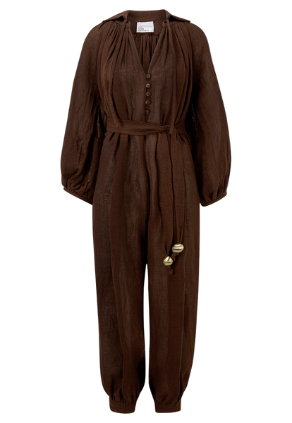 POET CHOCOLATE GAUZE JUMPSUIT