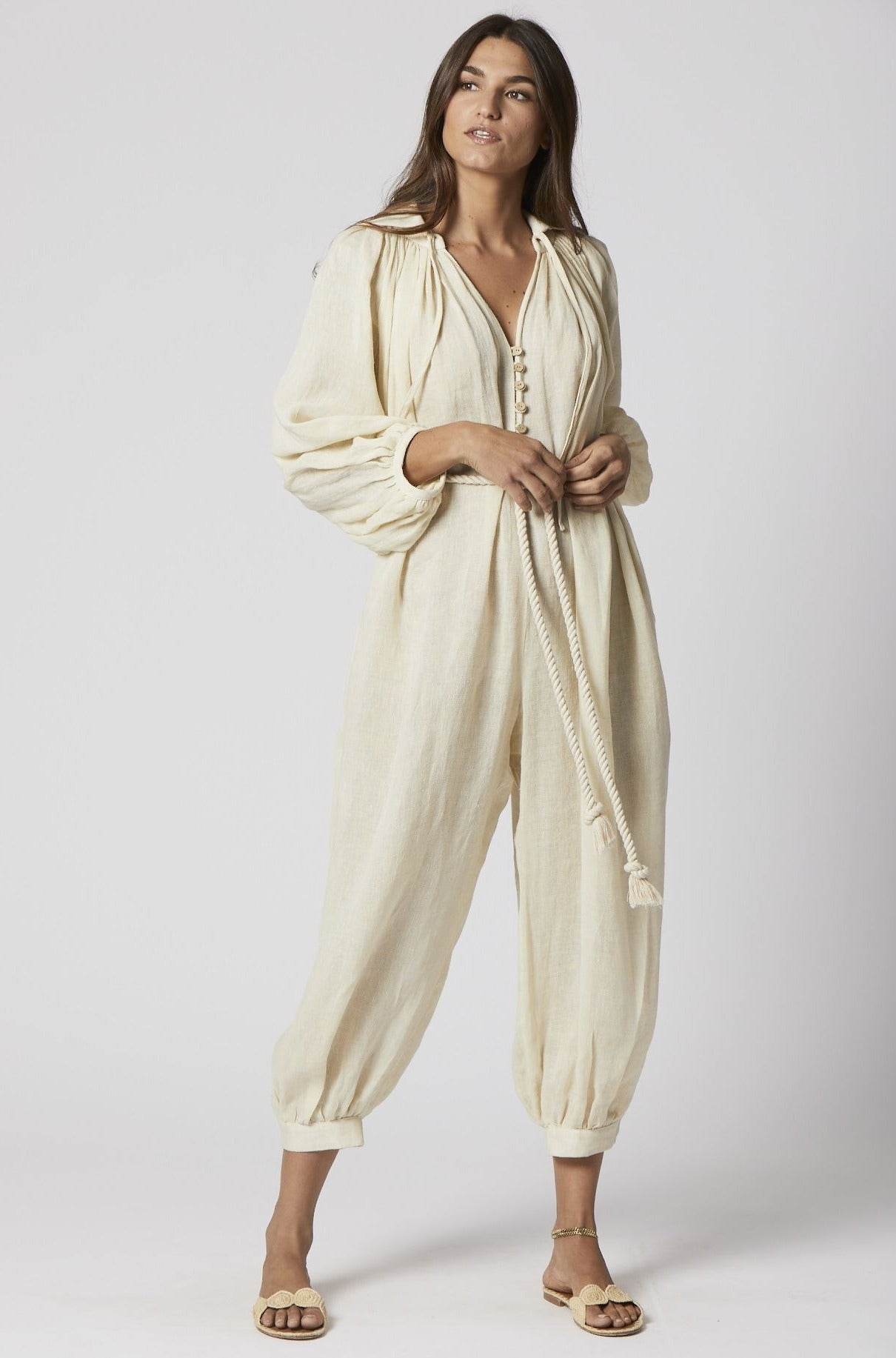 POET NATURAL LINEN JUMPSUIT